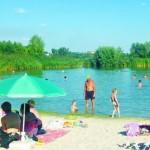 В «Озерном крае» аист на пляже ходит между людей